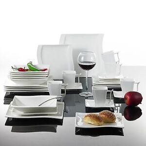 Image is loading Square-30PCS-Ceramic-Dinner-Kitchen -Service-Dinnerware-Complete-  sc 1 st  eBay & Square 30PCS Ceramic Dinner Kitchen Service Dinnerware Complete Set ...