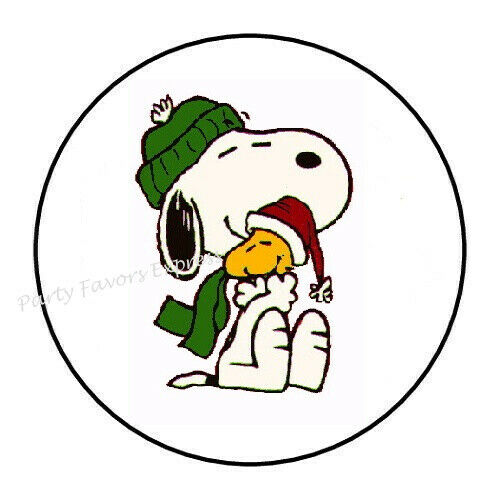 """48 SNOOPY WINTER CHRISTMAS ENVELOPE SEALS LABELS STICKERS 1.2/"""" ROUND"""