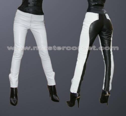 GENUINE LEATHER PANT  BLACK AND white Lederhose lederen broek Pantalon en cuir