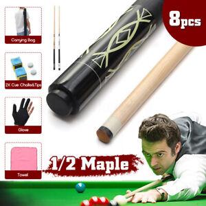 8PCS-1-2-Handmade-Maple-Wood-57-039-039-Snooker-Pool-Cue-Set-w-Cover-Bag-Glove-Chalk