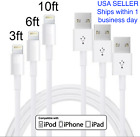 For iPhone 7, 6, & 5 Charger 8-pin USB Fast Data Sync, 3-10 ft (1-2-3 m) cables
