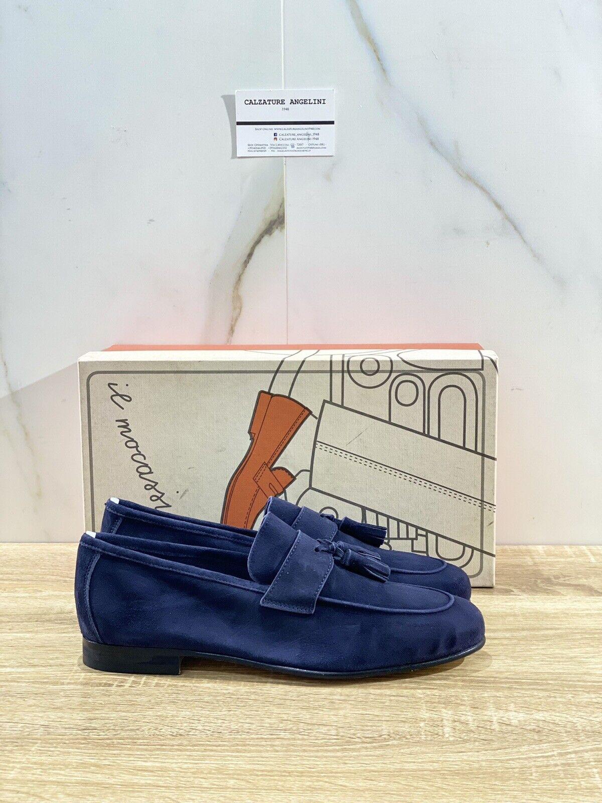 Il Mocassino Men's Shoe Tasca IN Suede Blue Tassel Luxury Men Shoes 42