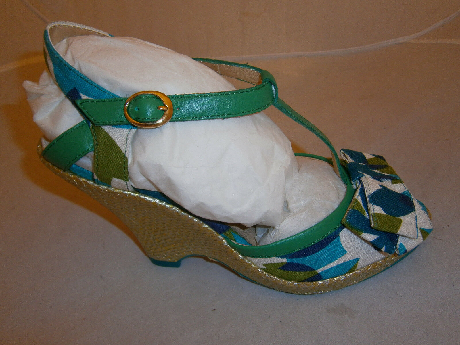 Poetic Licence Behave Yourself Green Blue Womens Wedge Heels Shoes weave 7.5 weave Shoes 302c3b
