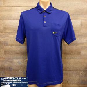 Nike-Golf-Mens-Polo-Shirt-Size-L-Tour-performance-Dri-Fit-Short-Sleeve-Blue
