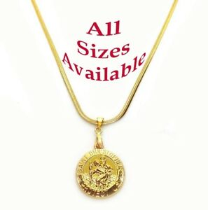 18k-Yellow-Gold-Womens-Mens-20-034-24-034-30-034-Snake-Chain-Necklace-w-Saint-Christopher
