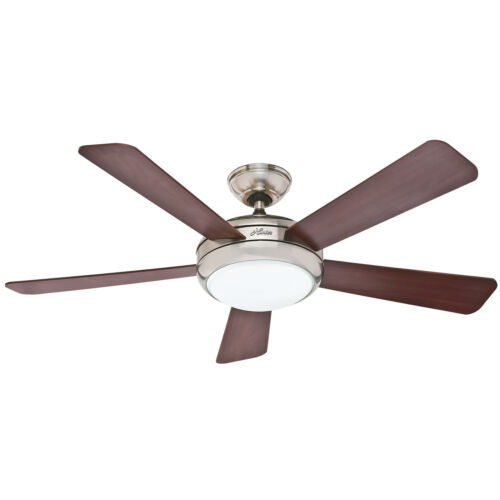 """HUNTER 52/"""" Palermo Brushed Nickel Ceiling Fan with Light 59052"""