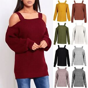 e712c4fb3c03 Womens Ladies Straps Off the Shoulder Knitted Baggy Oversized Jumper ...