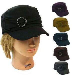 100% Wool Lady Women Cadet Box Cap Army Military Fashion Castro ... d43a4657b3