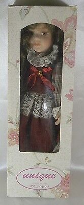 """Collectible 16""""  Lena Doll By Unique Porcelain Doll Collection COA New in Box"""