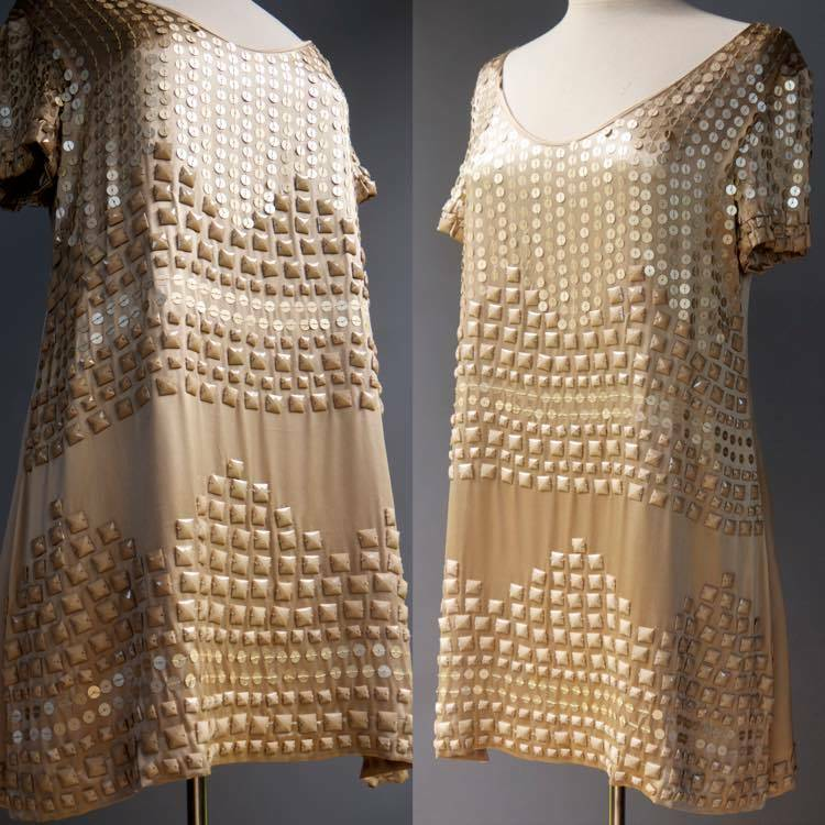 Shulami Heavily Beaded Silk Charmeuse Cocktail Dress Gold Bold Sequin Beads M L