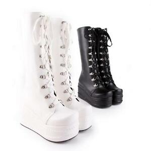 UK-Ladies-Mid-Calf-Knee-High-Boots-Lace-up-Platform-Goth-Punk-Boots-Shoes-Size-8