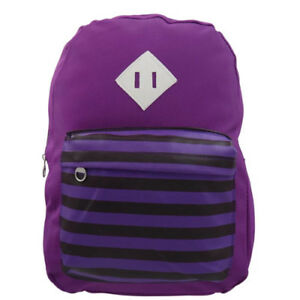 Trendy-Travel-Plain-and-Stripe-Design-School-Backpack-Purple-SL