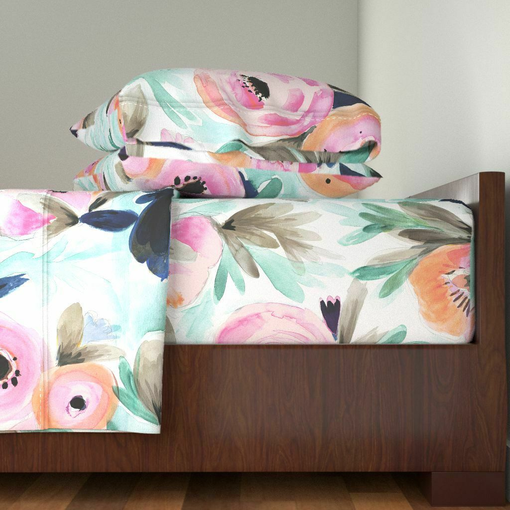 Floral Floral Summer Modern Home Decor 100% Cotton Sateen Sheet Set by Roostery