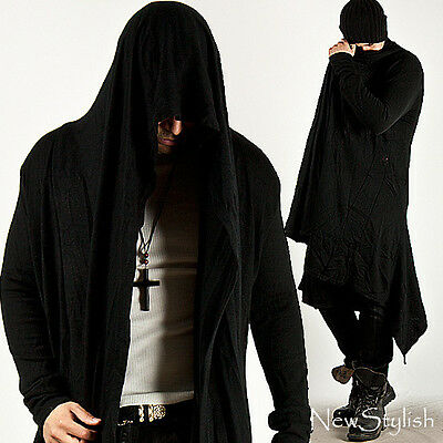 NewStylish Mens Fashion Avant-Garde Hooded Diabolic Drape Long Black Cardigan