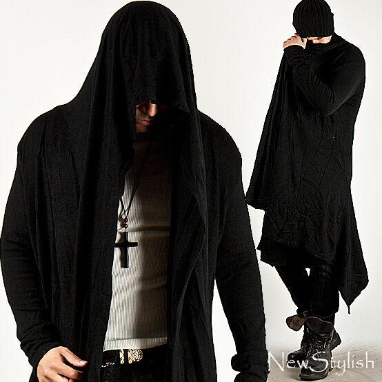 NewStylish Mens Fashion Avant-Garde Hooded Diabolic Drape Long Black Cardigan