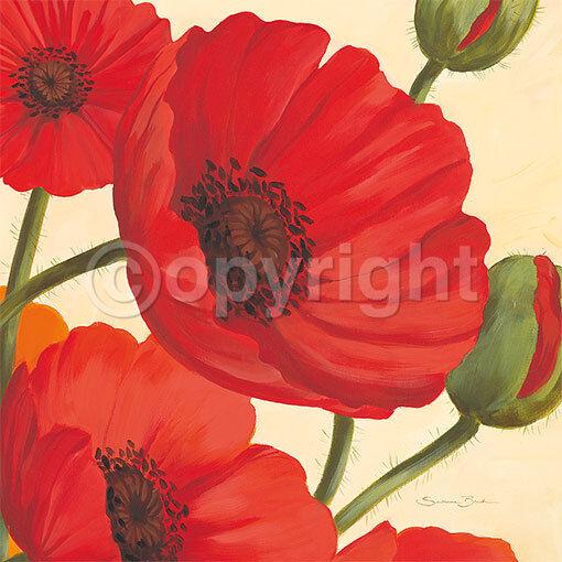 Susanne Bach  Hawaiian Poppies Fertig-Bild 50x50 Wandbild Blaumen Mohn modern