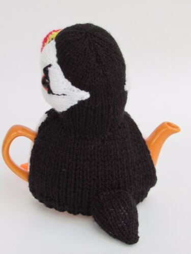 Knit your own! Puffin Tea Cosy Knitting Pattern for Tea for One sized teapot