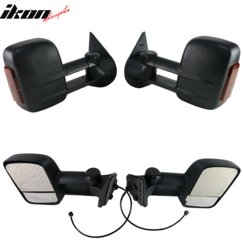 Fits 07-14 Silverado Sierra Towing Mirrors Power Heated Signal Arrow Light Set