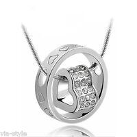 Love Halskette Ring Herz Anhänger mit Swarovski Kristallen 18 KRGP Weißgold pl!