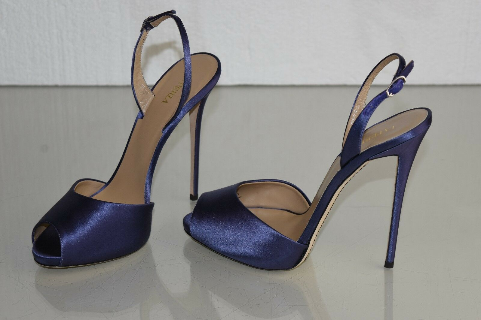875 NEW LA Perla shoes bluee Satin High Heel Slingback Peep Toe Pumps shoes 40