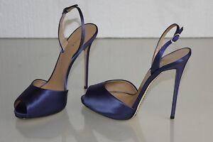 meet 1848d 6868a Details about $875 NEW LA Perla SCARPE Blue Satin High Heel Slingback Peep  Toe Pumps Shoes 40
