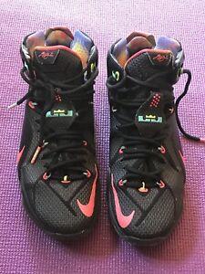 2a803c85edc6 Nike Lebron James XII 12 Data 684593-068 Black Mango Hyper Punch ...