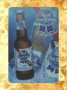 Pabst Blue Ribbon Beer Tin Sign Bar Man Cave PBR Vintage Retro Advertising Style