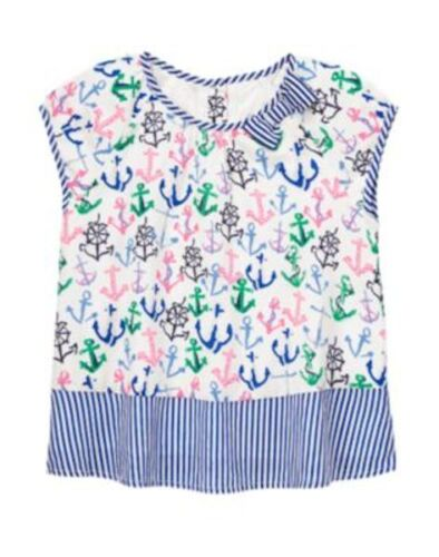 NWT Gymboree Stripes & and Anchor Girls Allover Anchor Top 5 7 Girls Blouse