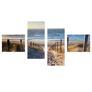 Weg zum Strand Bild Wandbild Nordsee Poster Leinwand  XXL 160 cm*80 cm*2 cm  544
