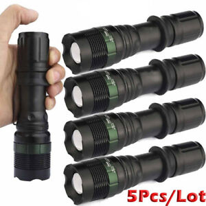 2Pack Ultra Brightest Torch 900000LM T6 LED Flashlight Tactical Police Zoom Lamp