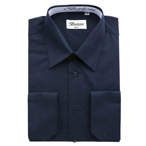 BERLIONI-ITALY-MEN-039-S-CONVERTIBLE-CUFF-SOLID-ITALIAN-FRENCH-DRESS-SHIRT-NAVY