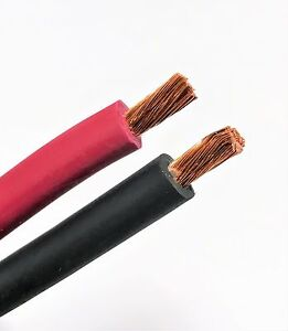 WELDING CABLE 1 AWG 200/' 100/'BLACK 100/'RED FT BATTERY LEADS USA NEW Gauge Copper