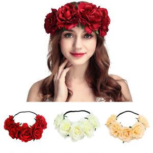 Women-039-s-Oversized-Large-Rose-Flower-Headband-Floral-Crown-Wreath-GO9