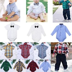 Baby-Boy-Girls-Birthday-Romper-Bodysuit-Newborn-Formal-Dress-Shirt-Party-Outfit