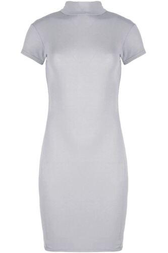 Damen Kappe Kurzärmelig Enganliegend Rollkragenpullover Lang T-shirt Minikleid
