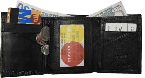 8 card 2 ID coin case 2 Billfold wallet. Leather Tri-fold Wallet Men/'s Wallet