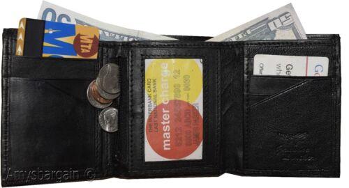 8 card 2 ID coin case 2 Billfold wallet. Leather Tri-fold Wallet Men/'s Wallet