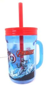 Marvel-Avengers-Assemble-Boy-039-s-Kids-Graphic-Plastic-Drinking-Mug-Cup-W-Straw-NEW