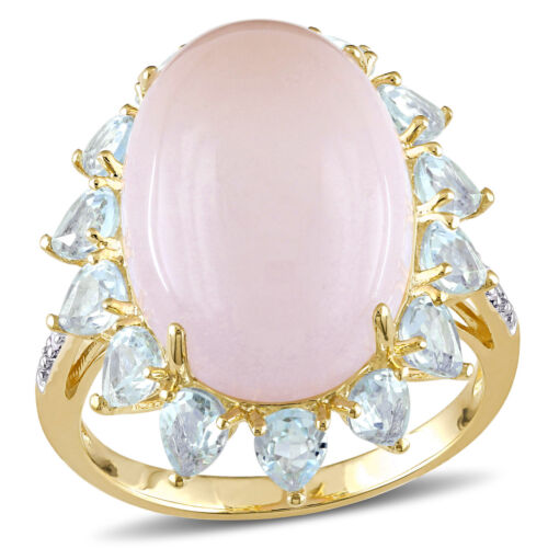Jaune Argent Sterling Quartz Rose Topaze Bleue /& Diamant Halo Cocktail Ring