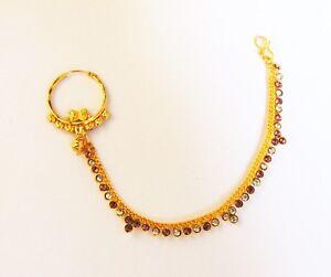 Designer Cz Hoop Nose Ring Gold Plated Nath Indian Ethnic Women