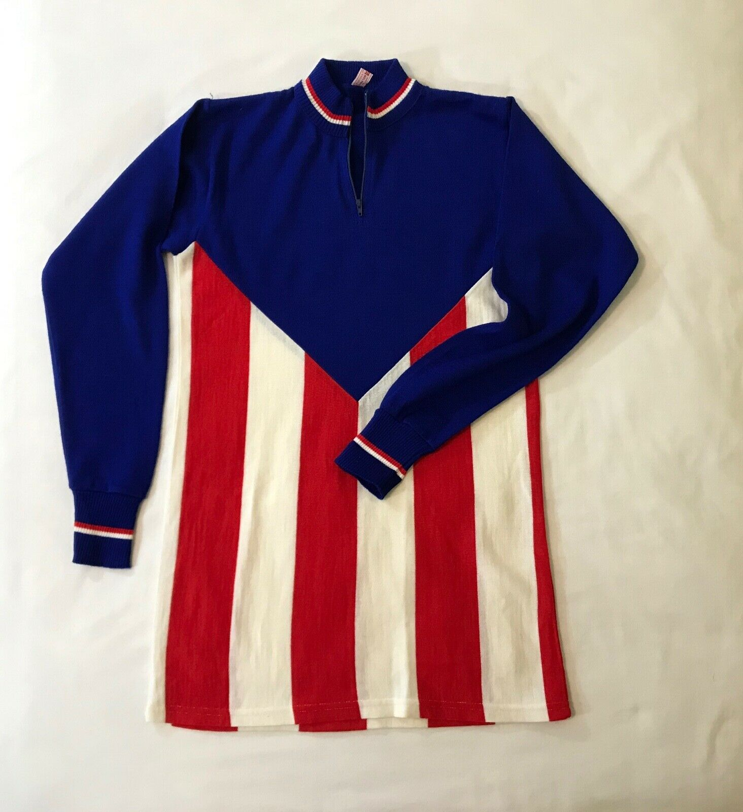 Vintage  Cortina 1 4 Zip Cycling Jersey Wool Blend Red White bluee Made in   factory direct and quick delivery