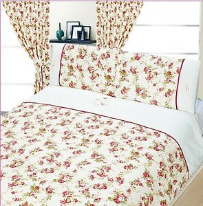 Pretty Floral Dusky Pink Shabby Chic Duvet Cover Bed Set Or Curtains
