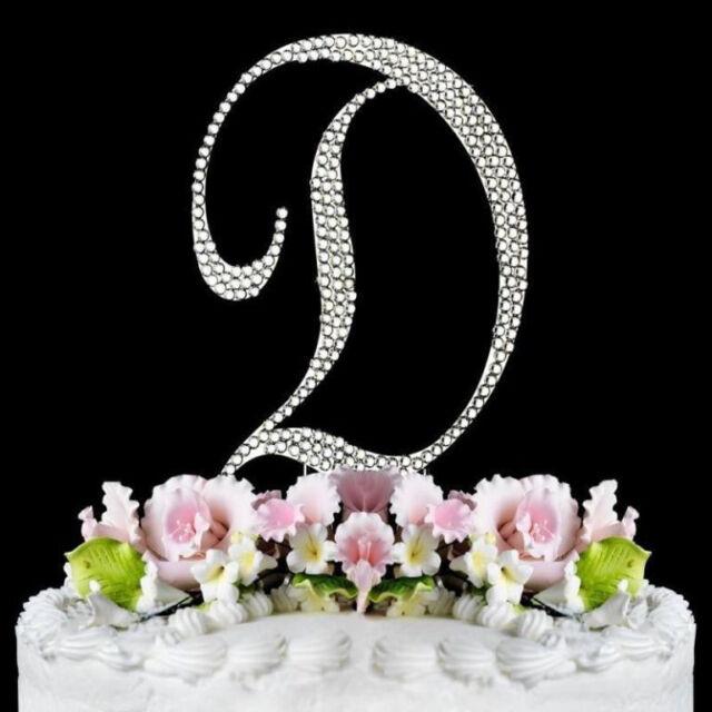 Crystal Rhinestone Covered Silver Monogram  Wedding Cake Topper Letter Initial
