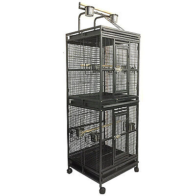 190cm Twin Double Parrot Aviary Bird Cage With Play Roof Top Ladder Wheels