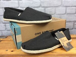 new concept dec41 b4c20 Details zu TOMS MENS UK 11 EU 45 ALPARGATA VENICE BLACK CANVAS ROPE SHOES  SUMMER SLIP ON LD