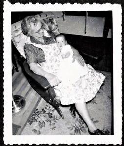 Happy Little Farm Girl Standing Mother Grandmother Apron Dress RPPC Real Photo Postcard Photograph Black White Photo