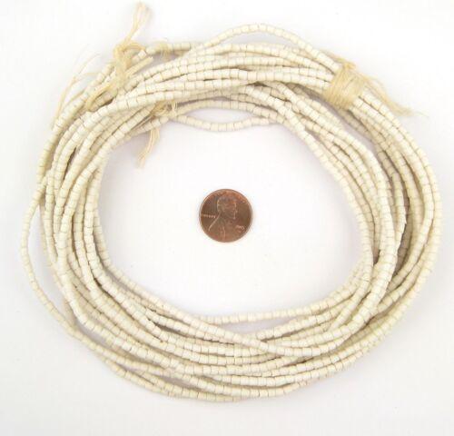 Moonlight White Sandcast Seed Beads 3mm Ghana African Cylinder Glass Handmade