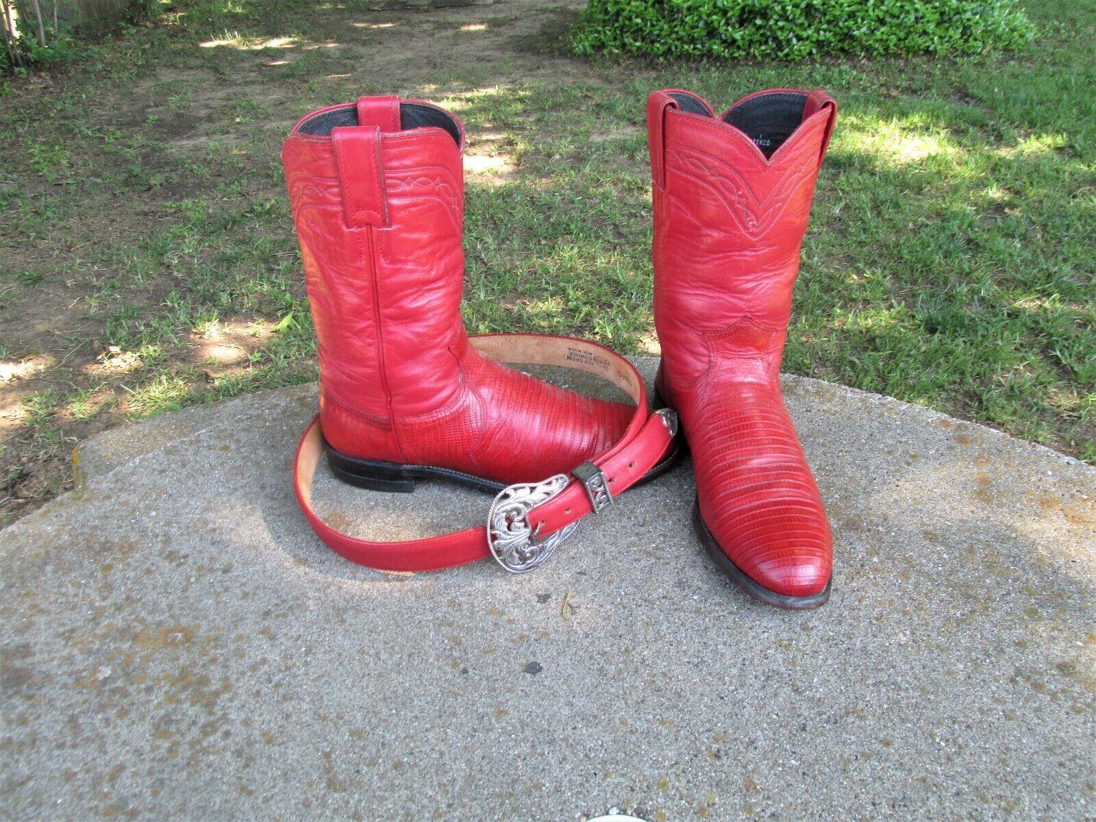 JUSTIN Lagarto botas de vaquero , con M Cinturón Mujer 7' 5 B