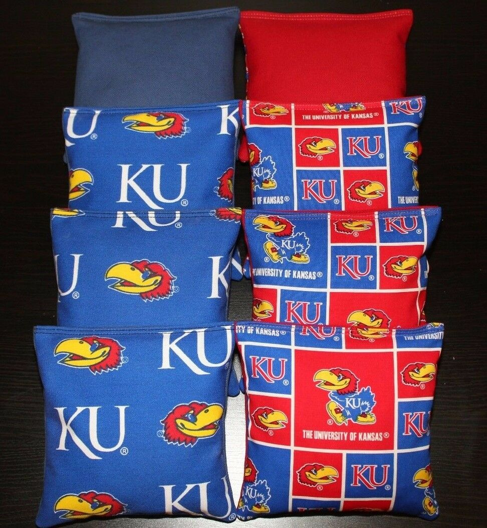 University of KANSAS JAYHAWKS KU CORNHOLE BEAN BAGS  All Weather Resin Filled NEW  fast shipping and best service