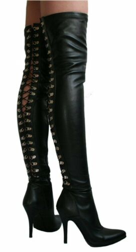 Thigh Boots Black Stretch Leather Look Lace Back Sophie Fetish Goth UK 3 EU 36